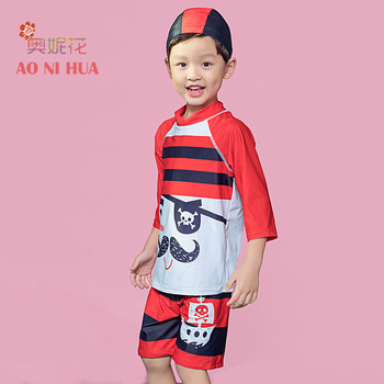 AONIHUA Boys Swimsuit 2018 New Pirateship Print Striped Two Piece design kids Long sleeve swimwears Children Bathing Beach Suit image