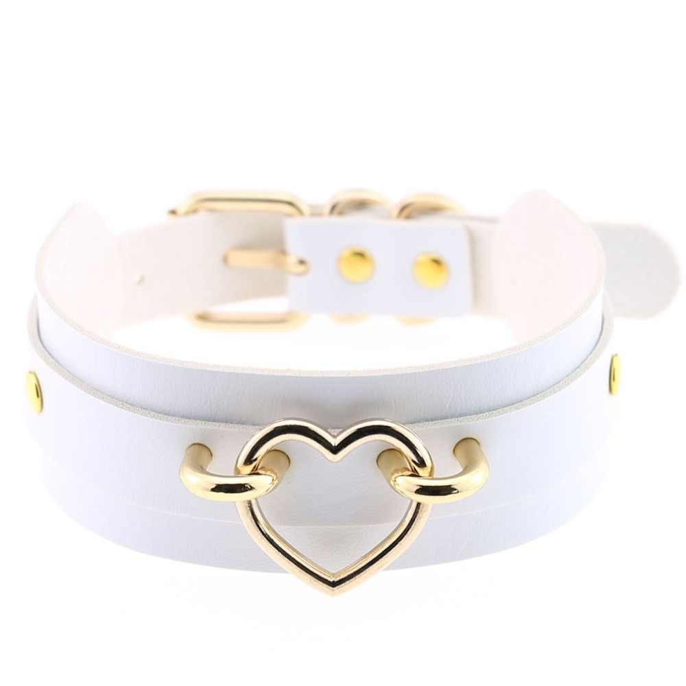 Nowy skórzany naszyjnik Choker na prezent dla kobiet Choker serce metalowy kołnierz laserowy Chocker biżuteria