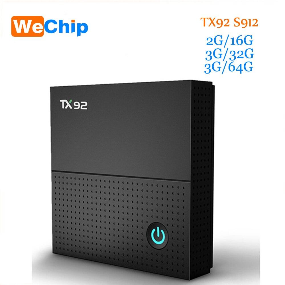 Wechip TX92 TV Box Android 7.1 TV Box Amlogic S912 Octa-core 3GB/64GB BT 4.1 Bluetooth 2.4G 5G WiFi 4K HD KODI 17.3 Media Player