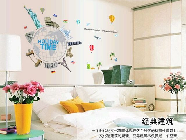 Ay9187 Around The World Holiday Time Diy Removable Wall Stickers Living Room Tv Background Home Decor