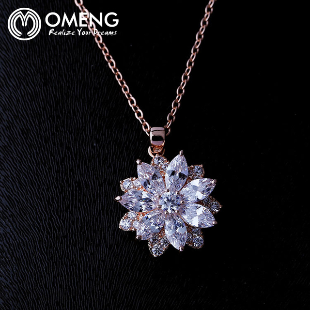 Omeng jewelry Rose Gold and White Snow Flower CZ Costume Jewelry