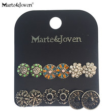 Marte&Joven 6 Pairs Assorted Multiple Vintage Earring and Rhinestone Big Stud Earrings Set for Women Mix Round Flower Ear Studs(China)