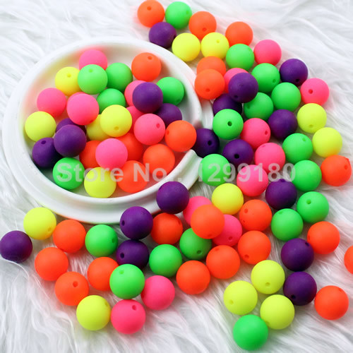 100pcs/lot Mixed Matte Fluorescent Neon Beads Acrylic Round Beads Aaa Beads For Kids Necklace Bracelet Diy Jeweley 12mm k01740 Beads Jewelry & Accessories
