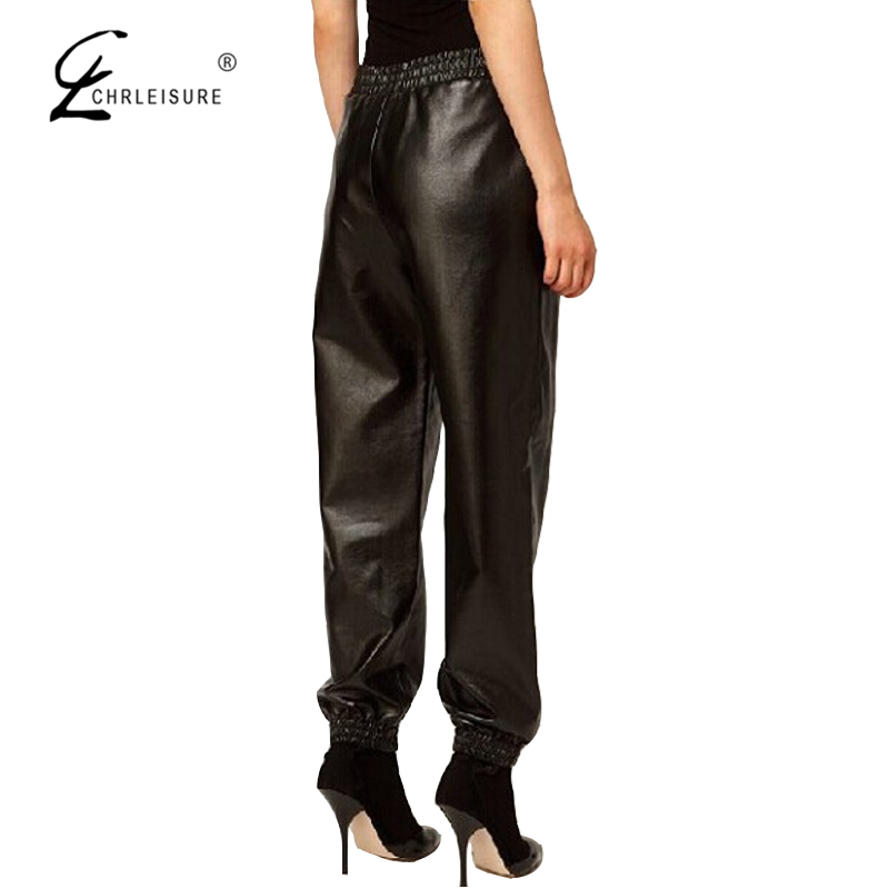 CHRLEISURE S 2XL Women's Leather Harem Pants Fashion Loose Pant Sexy Faux Leather Elastic PU Pants Women