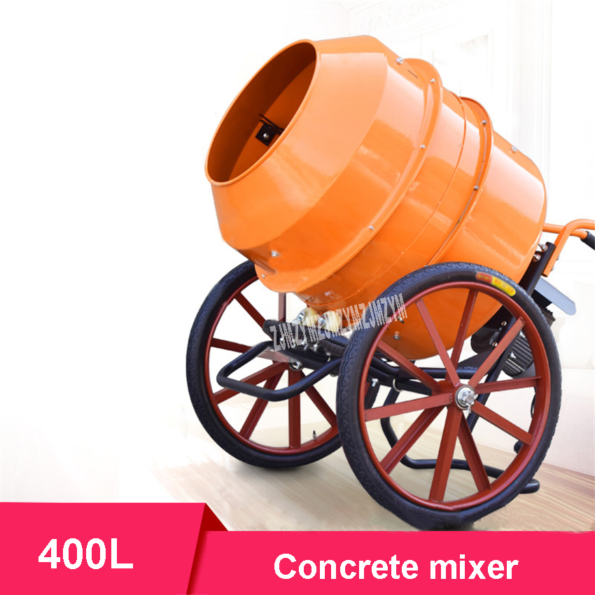 US $404 1 10% OFF|Upgrade Small Household Concrete Mixer Construction Site  Cement Mortar Mixer Electric Feed Mixing Machine 220V 650W 400L 22r/min-in