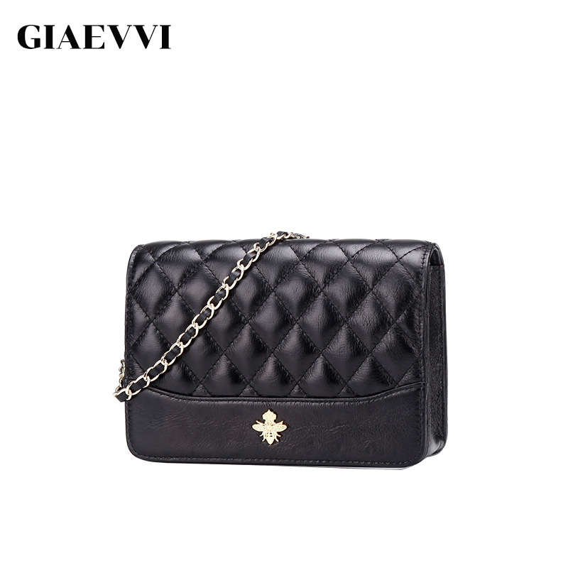 цены на GIAEVVI Women Genuine Leather Handbag Small Flap Shoulder Bag Brand Casual Chain Messenger Bags for Ladies Crossbody Mini Purse
