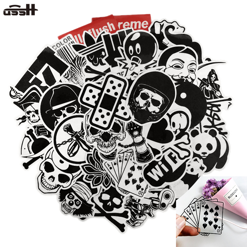 45 Pcs Black and white Transparent Personality PVC Waterproof Sticker For Luggage Laptop Car Guitar Skate Doodle Decal Stickers
