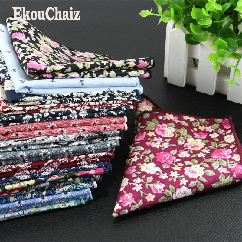 New Men Handkerchief Pocket Square Pure Cotton Leisure El Panuelo O Lenco Print Floral Chest Napkin Black White Bolsillo Toalla Excellent In Cushion Effect Back To Search Resultsapparel Accessories