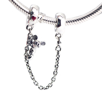 FANDOLA Bead 925 Sterling Silver Original Climbing Mickey Safety Chain Fits Pandora Charms Bracelets Beads for Jewelry Making