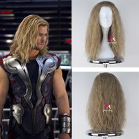 Thor Odinson Cosplay Wig The Avengers Curly Long Blonde Men Synthetic Hair for Adult