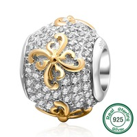 ChaWin Gold Plated Flower 925 Sterling Silver Bead With Clear CZ Fits Pandora Charms Bracelets Necklaces