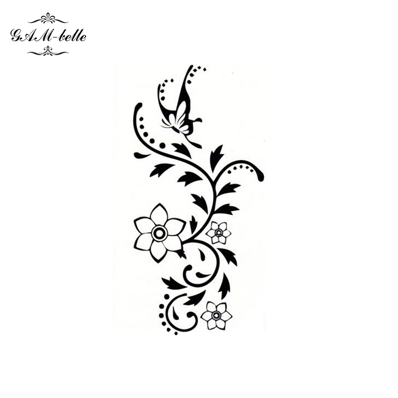 4308424b6 Female Flower Vines Butterfly Tattoo Stickers Arm Legs Waterproof Tattoo  Black Flower Butterfly-in Temporary Tattoos from Beauty & Health on  Aliexpress.com ...