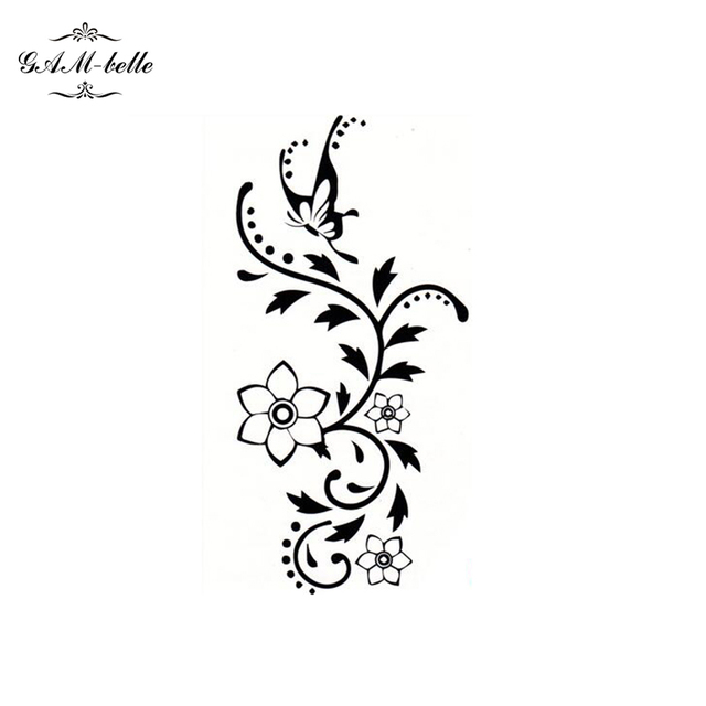Female Flower Vines Butterfly Tattoo Stickers Arm Legs Waterproof