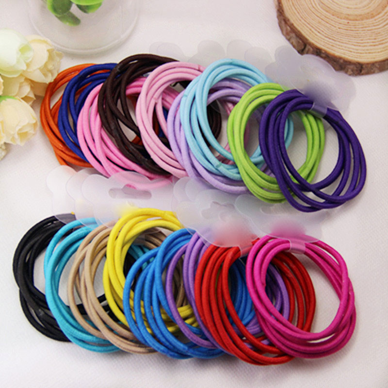 100Pcs Rubber Hair Bands Ponytail Holder Elastic Head Rope Hair Ties Headwear Girls Hair Accessories For Women Kids Girl Lady free shipping 10pcs lot new adult elastic hair bands women headwear for girls hair rope headbands accessories 14 colors 15cm