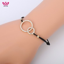 New Design Gold Double Circles Charms Bracelet for Women Elastic Rope Adjustable Chain Crystal Bracelet Dropshipping