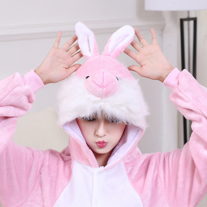 Cute Pink Bunny Cartoon Animal Hooded Long Sleeve Onesie Adult Winter animal pajamas Rabbit For Women Cosplay Sleepwear (3)