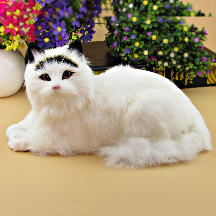 simulation animal model 28x15x18cm furry fur prone cat , miaow sound cat decoration birthday gift a2148