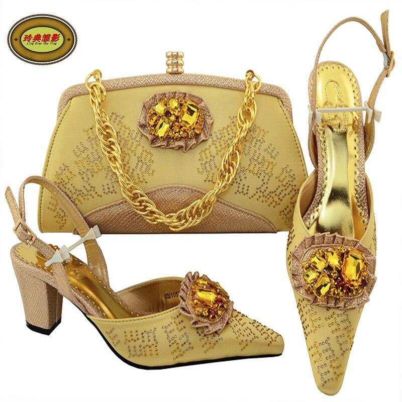 MM1057 Gold Top Fashion Rhinestone European Bridal Wedding Shoes And Bag Set African Shoes High Heels Pumps Match Bag Free Shipp щипцы для завивки remington ci8725