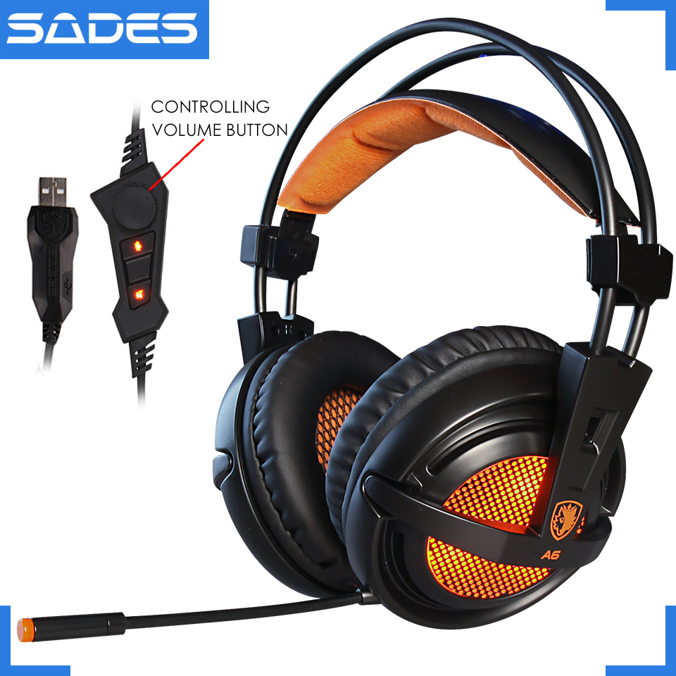 A6 USB 7.1 Estéreo com fio fones de ouvido de jogos SADES jogo de fone de ouvido sobre a orelha com controle de Voz mic para computador portátil gamer