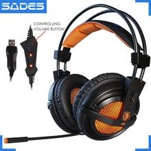 Fones de ouvido gamer sades a6 usb 7.1, com fio, para computador e laptop, com controle de voz