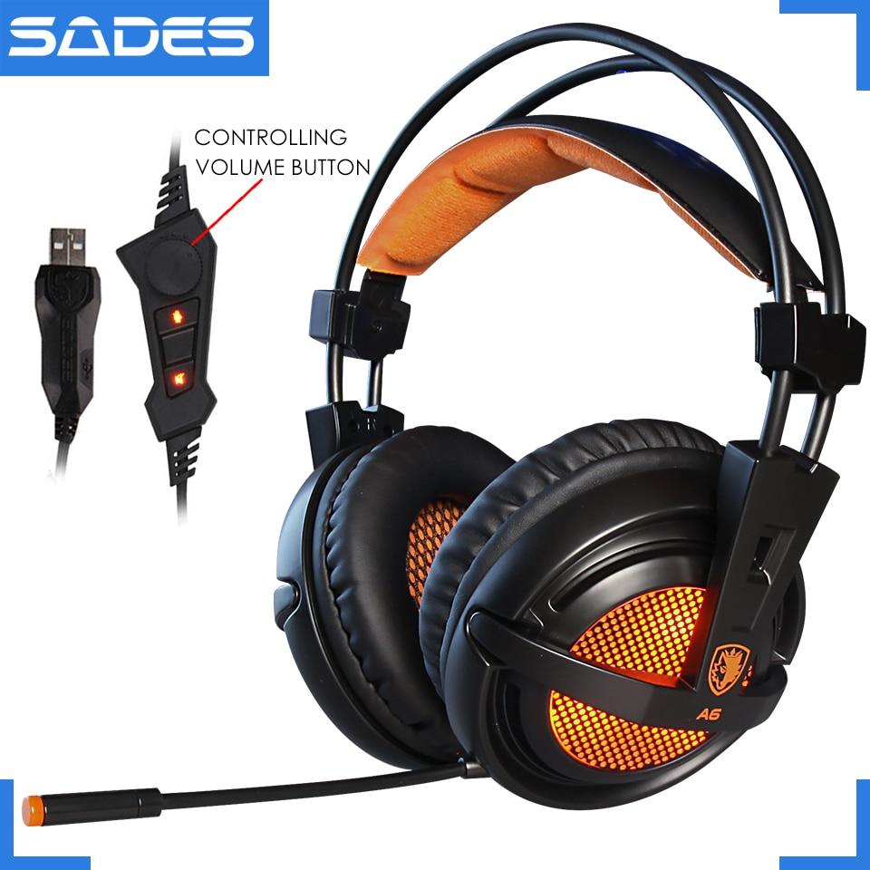 SADES A6 USB 7,1 estéreo con cable de auriculares juego auricular sobre la oreja con micrófono control de voz para ordenador portátil jugador