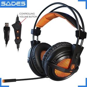 Image 1 - SADES A6 USB 7.1 סטריאו wired משחקי אוזניות משחק אוזניות על אוזן עם מיקרופון קול שליטה עבור מחשב נייד מחשב גיימר