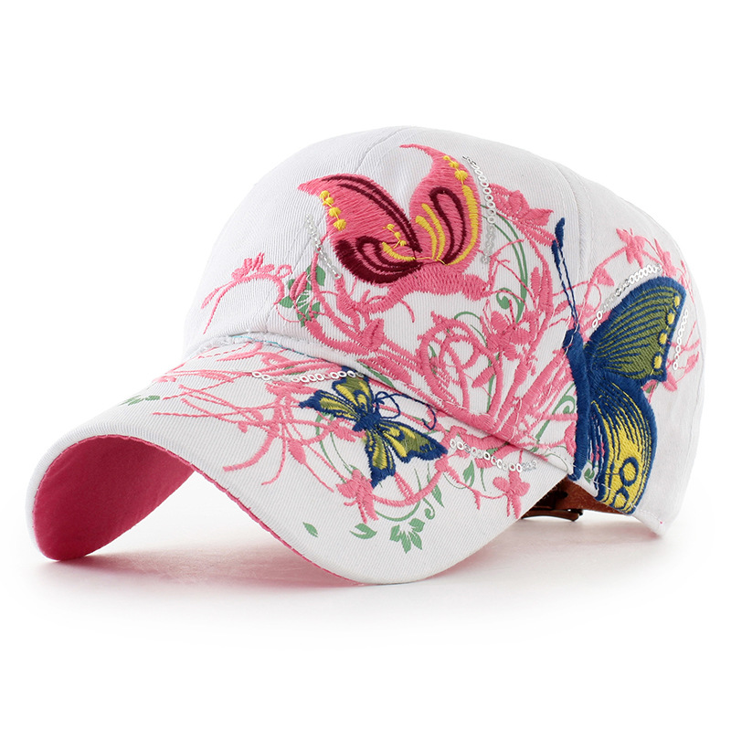fd2bd1c6bd AKIZON Baseball Cap For Women With Butterflies And Flowers Embroidery  Adjustable