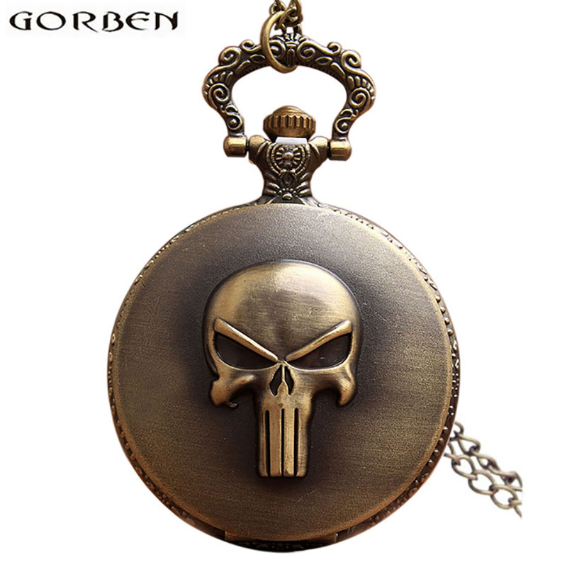 Vintage Anime The Punisher Skull Pocket Watch Necklace Chain Pendent Antique Quartz pocket fob watches Relogio Men Watches Gift