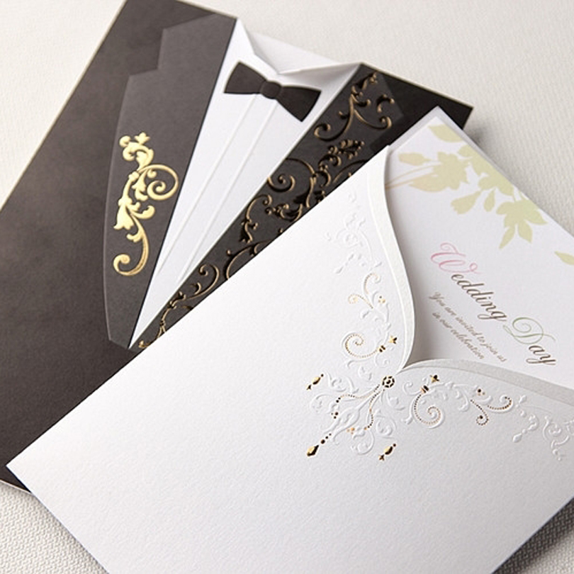 50 Pieces Lot Wishmade Bride And Groom Wedding Invitation Card White Dress Black Suit Customized Engagement Invitations Cw2017 In Cards From