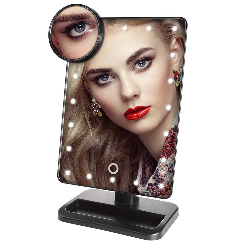 20 LED Lighted Makeup Mirror Desktop Professional Cosmetic Vanity Mirror With 10X Magnifying Portable Travel Make Up Mirror цена