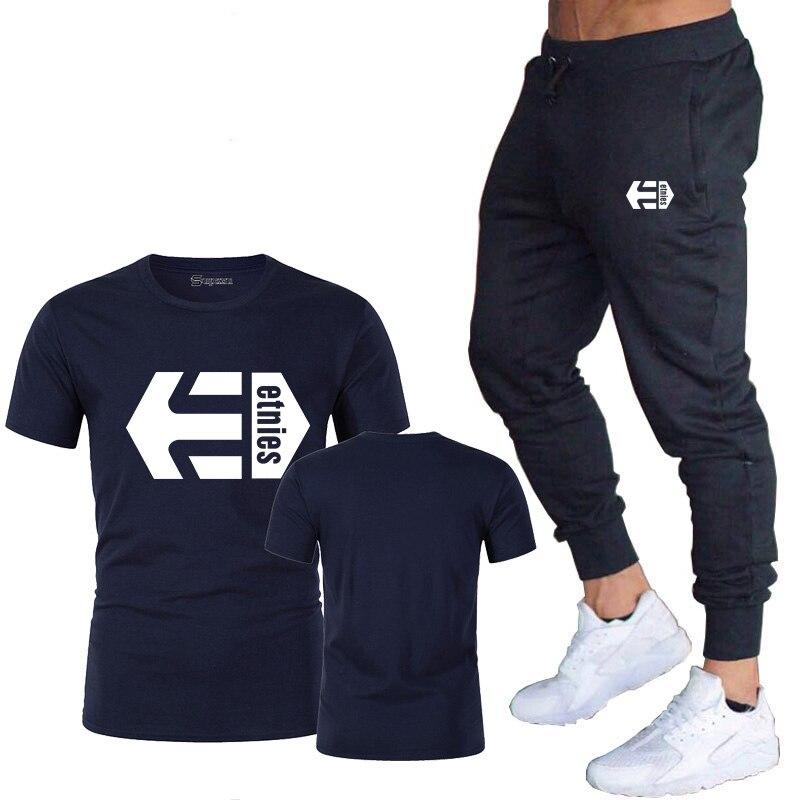 ae2617c20 Etnies estampado camiseta para hombre conjuntos camisetas + Pantalones dos  piezas conjuntos Casual chándal masculino 2019 camiseta Casual gimnasios ...