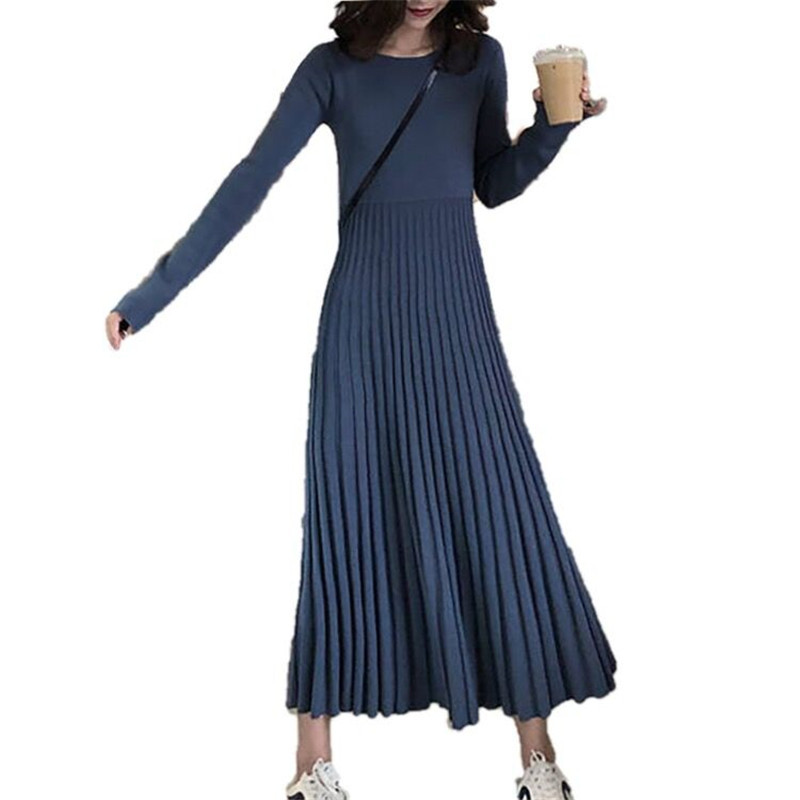 99e598c1b76 Detail Feedback Questions about 2019 New Autumn Winter Women OL Thick A  line Pleated Sweater Dresses Female Slim Elastic Jumper Casual Knitted Long  Dresses ...