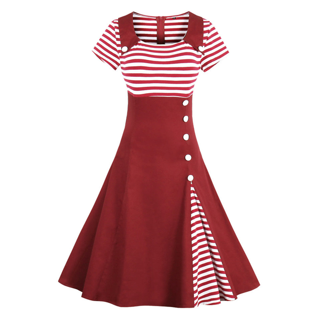 eddf6433c92d1 Kenancy Plus Size 4XL Women Vintage Dress Stripe Short Sleeves Summer Retro  Dress Cotton Daily Swing Vestidos Black/Red/Navy -in Dresses from Women's  ...
