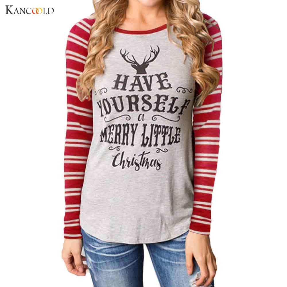 CHRISTMAS T Shirts Women Fashion Round Collar Cotton Long Sleeve Casual Tops Slicing Sleeve blusa feminina Pullover AU032
