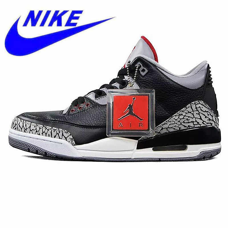 official photos b74eb 266c7 Original New Arrival Nike Air Jordan 3 Black Cement AJ3 Men  s Basketball  Shoes Burst