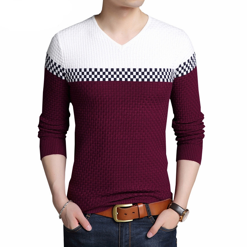 2018 Autumn Winter Warm Wool Sweaters Casual Hit Color Patchwork V-neck Pullover Men Brand Slim Fit Cotton Sweater