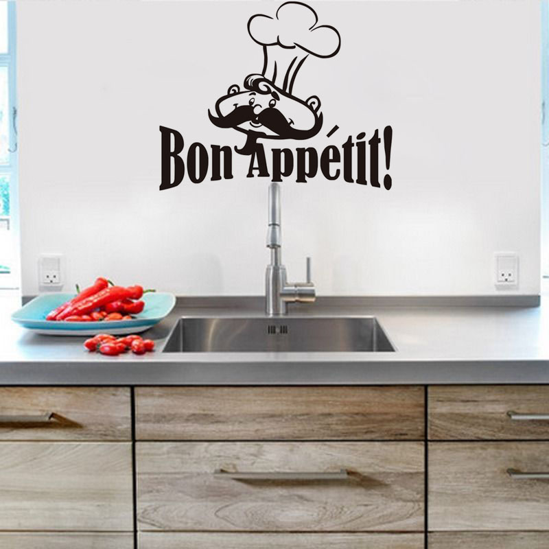 Bon Appetit Funny Chef Cooker French Spanish Quotes Food Wall Stickers For Living Room Dining