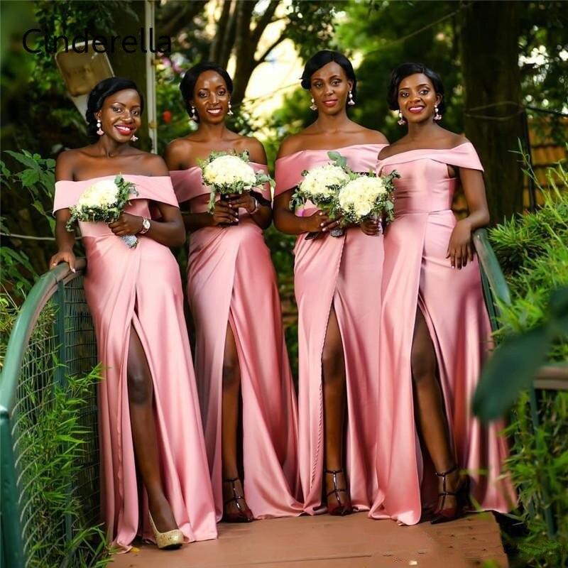 Cinderella Side Slit Off The Shoulder Sweep Train Silk Satin Floor Length A-Line Bridesmaid Dresses Wedding Party Dresses