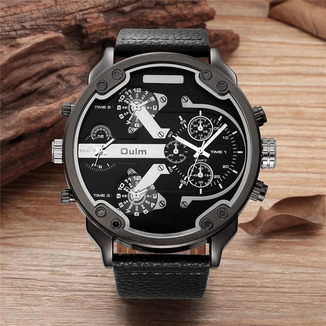 135dc8105b3 Homens Relógios Oulm Super Grande Tamanho Dois Fuso Horário de Quartzo  relógio Masculino de Couro PU