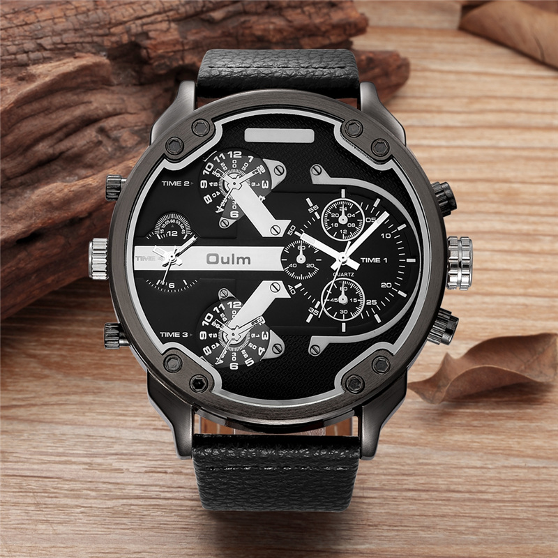 Oulm Super Big Size Men Watches Two Time Zone Quartz Clock Male PU Leather Decorated Small Dials Men's Luxury Wrist Watch