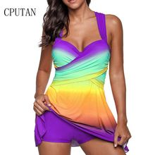 Sexy Gradient Plus Size Skirt Swimwear Women Two Piece Push Up Swimsuit Beachwear Bathing suit Dress Large Bust Monokini S~5XL 2018 new plus size plaid skirt bathing suit swimwear sexy women underwire summer swimsuit womens swimming dress beachwear