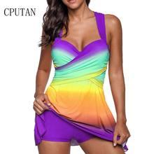 dacd8ebd97b71d Sexy Gradientu Spódnica Plus Size Stroje Kąpielowe Kobiety Dwuczęściowy Strój  Kąpielowy Push Up Kostiumy Kąpielowe Strój