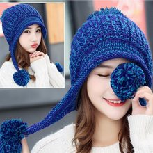 9aa749bfa2f New Women Sweet Cute Knitted Bomber Hats Earflap Thick Winter Korea Cap  Female Thermal Windproof Hat with Velvet