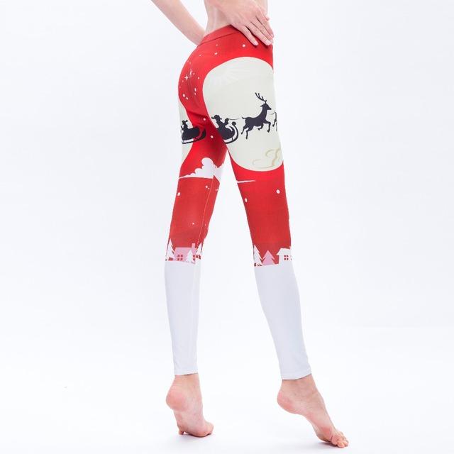 Leggings Tree Snow Printing Slim Low Fitness Women