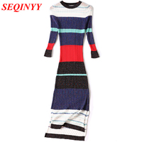 White Red Black Women S Striped Sweater Dress Long 2017 Autumn Winter Pleated Ribbed Rainbow Side