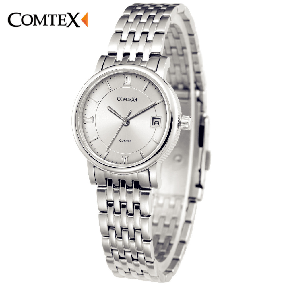 COMTEX Women Watches Fashion Casual Watch Dress Lady Watch Luxury Stainless Steel Wristwatch Silver Quartz Clock for lover girl  kimio fashion brand women watches lady quartz diamond watches lady dress watches female clock women stainless steel wristwatch