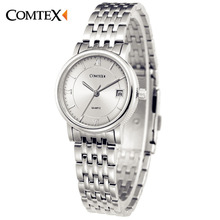 COMTEX Women Watches Fashion Casual Watch Dress Lady Watch Luxury Stainless Steel Wristwatch Silver Quartz Clock for lover girl