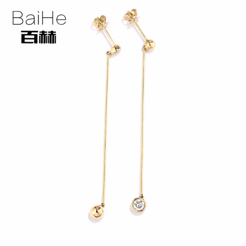 BAIHE Solid 14K Yellow Gold 0.30CT H/SI 100% Genuine Natural Diamond Round CUT Wedding Trendy Fine Jewelry Elegant Stud Earrings 14k yellow gold over 2 ct d vvs1 round cut stud earrings