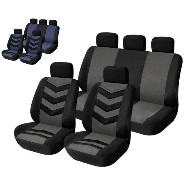 Car Styling Seat Covers 9pcs Universal Sandwich Fabrics Car Seat Cover Set Four Seasons Auto Cushion Interior Accessories