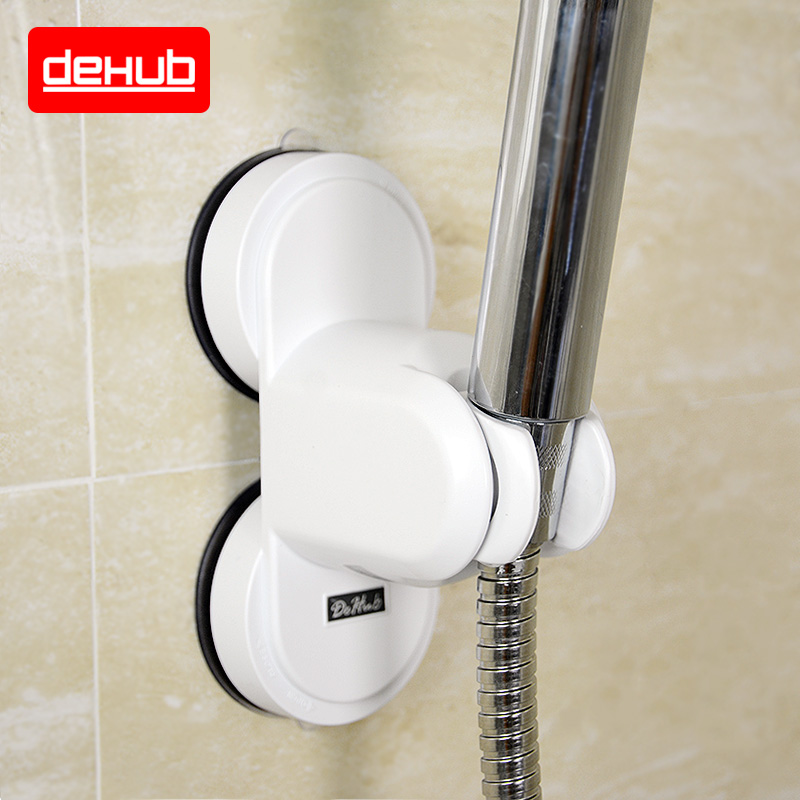 Dehub Bathroom Vacuum Holder Wall Suction Cup Wall Mount Adjustable Shower Head Holder In White